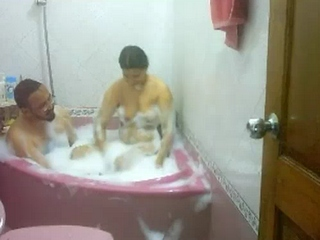 Vid gal 310. Married indian couple taking shower in home jacuzzi