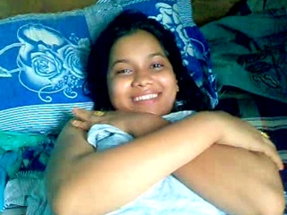 Vid gal 380. Shy indian girl covering herself with bedsheet