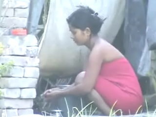 Vid gal 439. Excited indian girl from mumbai taking open air shower